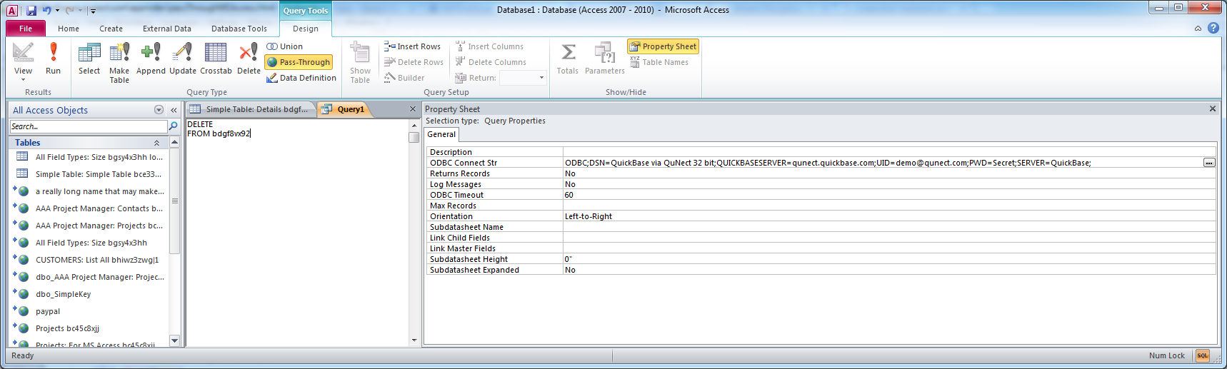 Using Pass-Through Queries with QuNect ODBC for QuickBase from MS Access